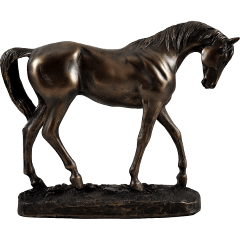 Graceful Walking Horse Cold Cast Bronze Sculpture